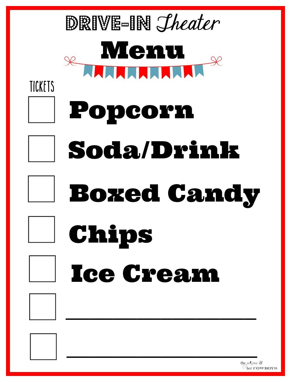 drive in movie theater menu activities diy outdoor backyard