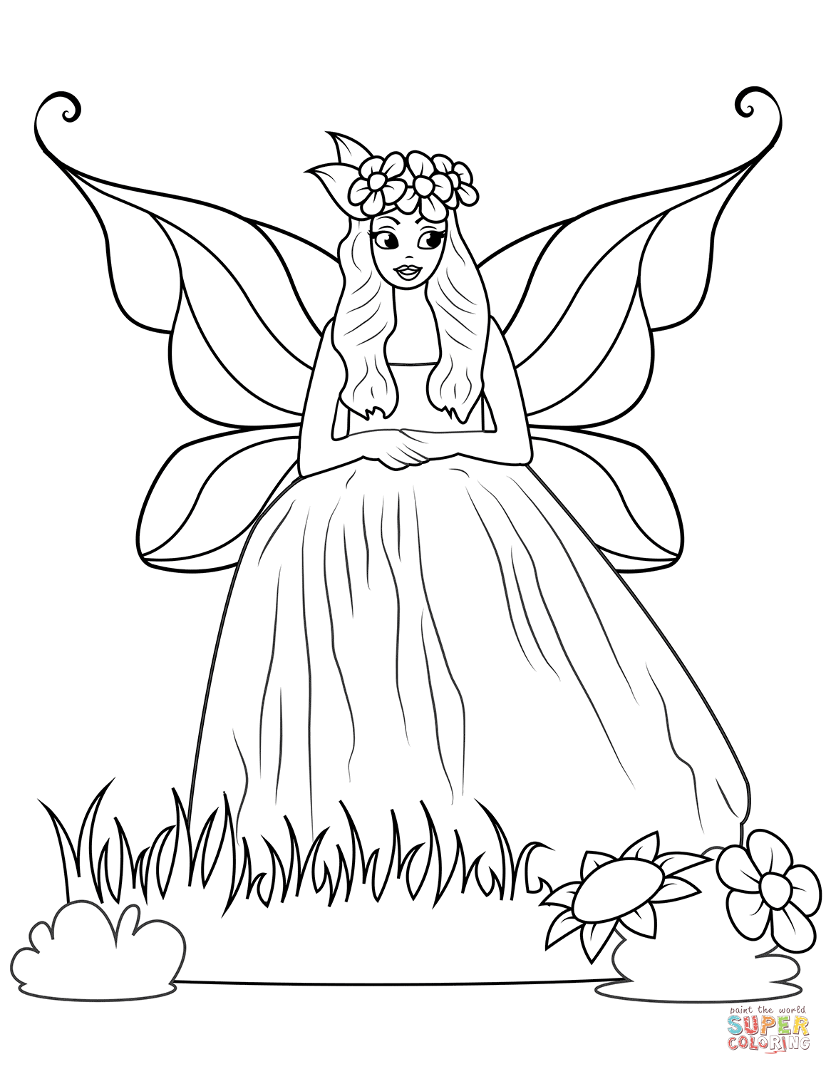 Fairy In Ball Gown Dress Coloring Page Free Printable Coloring Pages Fairy Coloring Pages Unicorn Coloring Pages Fairy Coloring