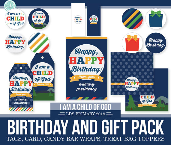 2018 LDS Primary Birthday and Gift Pack I am a child of God   LDS ...