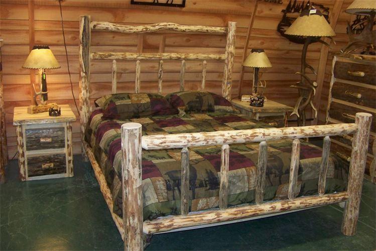 Bedroom, Rustic Pine Log Bed Frame: The Concept Of Rustic Bed Frames ...