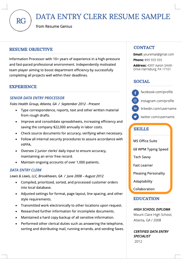Skills For Resume 100 Skills To Put On A Resume Resume Skills Job Resume Examples Resume Skills List