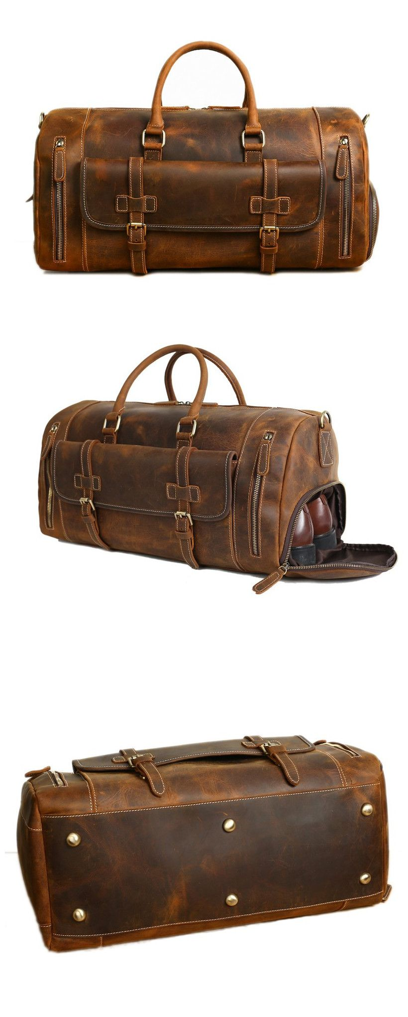 4e7f5e7036a Handmade Vintage Brown Leather Duffle Bag with Shoes Compartment, Travel Bag