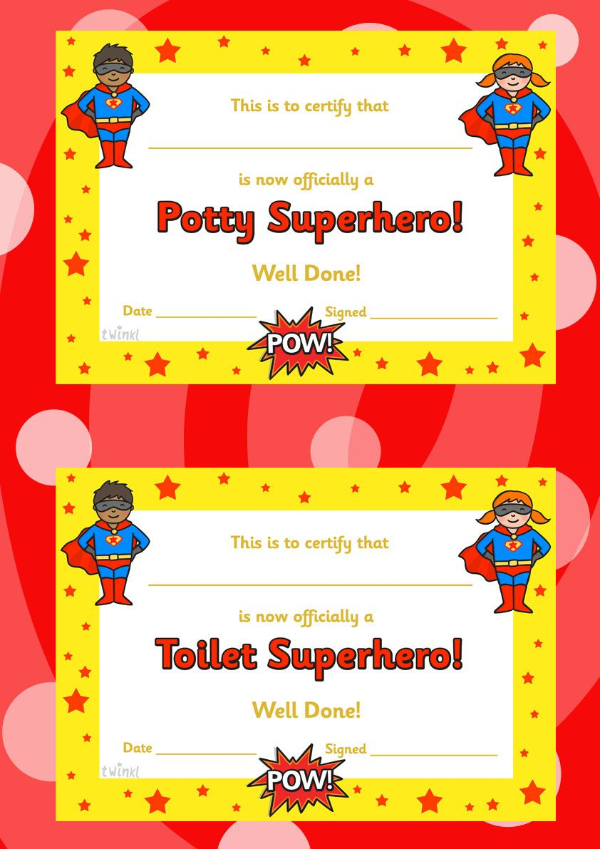 Toilet And Potty Superhero Certificate Free Printables Todds