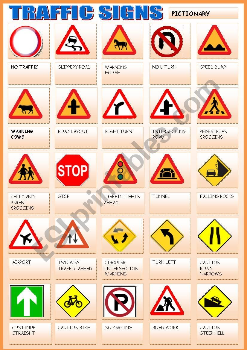 TRAFFIC SIGNS - ESL worksheet by gemaherlo   Driving/Car ...