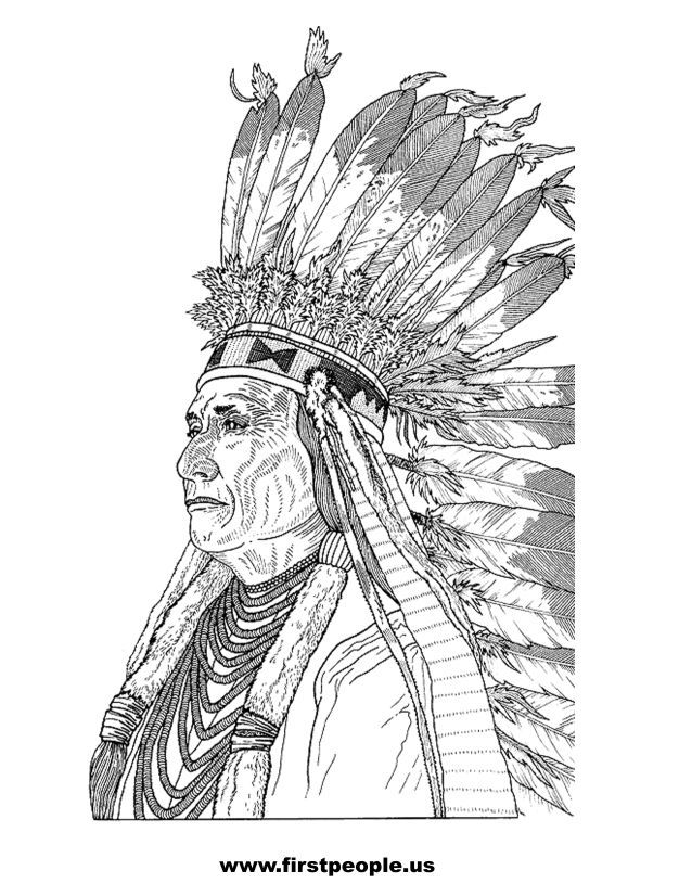 Native American Clipart To Color In Chief Joseph Native Drawings Coloring Pages Indian Drawing