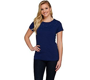 C. Wonder Embroidered Cutout Design Short Sleeve Slub Knit Shirt