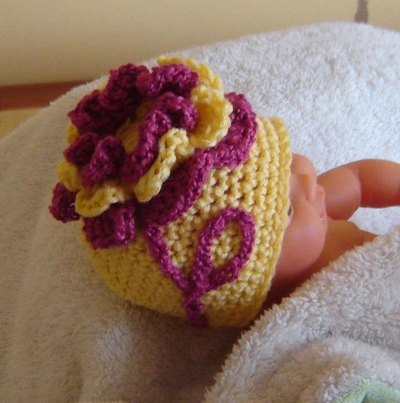 PDF Instant Download Crochet Pattern no 102 Ruffled Flower Beanie All sizes from Newborn to Adult