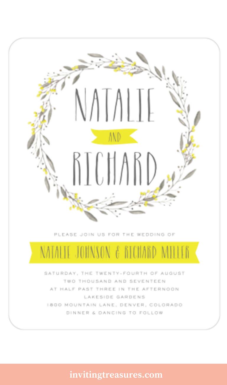 Meadow Wreath Invitation | Yellow wedding colors, Summer wedding ...