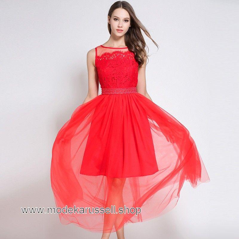 Damen Sommerkleid Lang in Rot mit Spitze und Tüll | Günstige ...