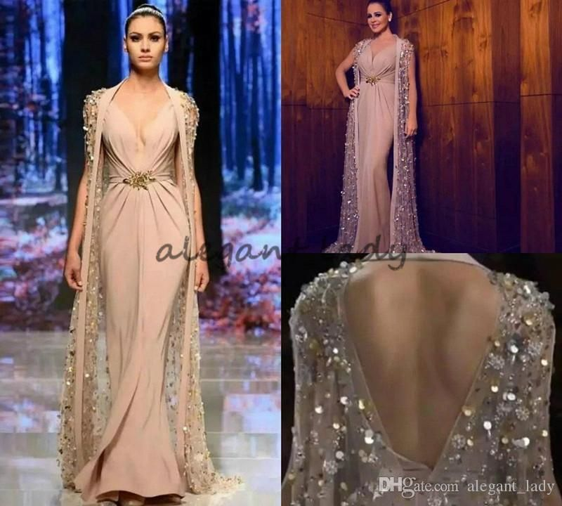 Bling Sequins Satin Mermaid Evening Dresses with Cape Deep V Neck Crystal  Beaded Formal Dress Prom 67158d0e97ab