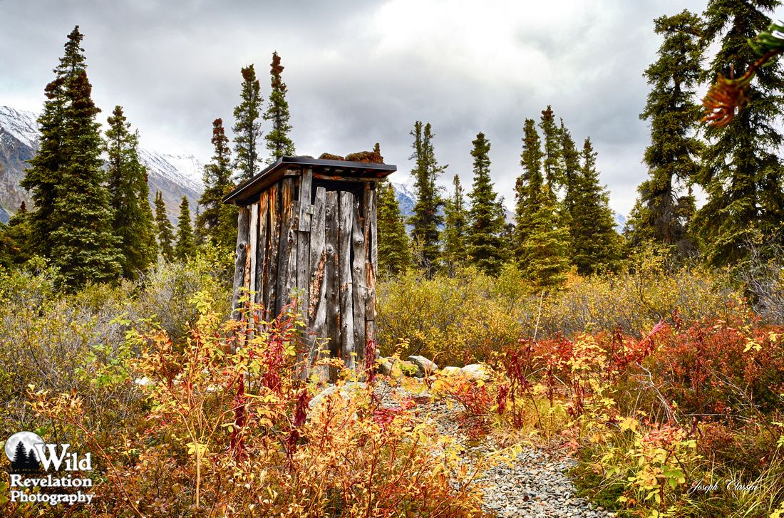 Outhouse Paradise. The outhouse near the famous Spike's cabin at Twin Lakes, Alaska. Photography by Joseph Classen.