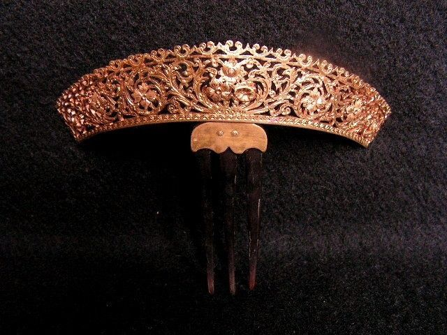 ancien PEIGNE DIADEME TIARE debut XIXe pomponne richement decoré bijoux couronne | eBay