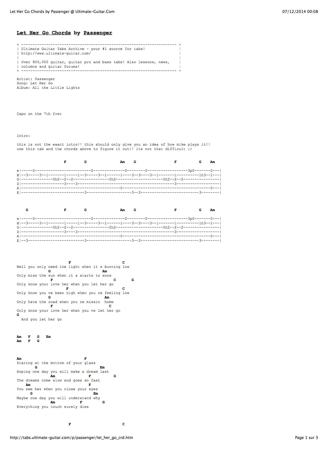 Passenger Let Her Go Ultimate Guitar Tabs And Chords