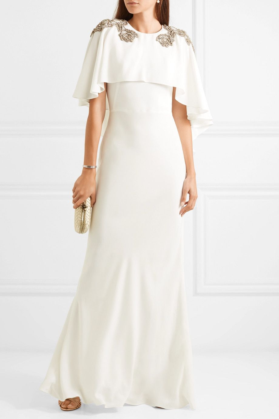 Cape-effect Embellished Crepe Gown – Ivory