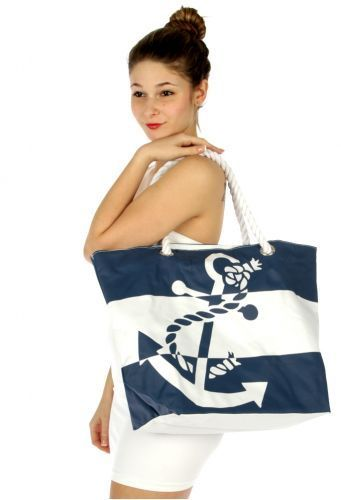 """21"""" x 15"""" Large Striped Anchor Beach Bag Tote - The Rustic Shop"""