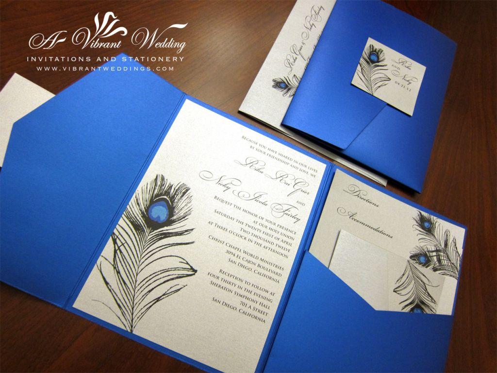 Royal Blue Platinum Wedding Invitation With Pea Feather Design
