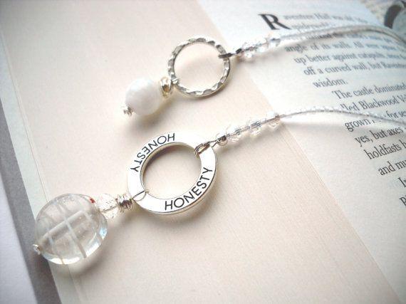 Elegant white 'Honesty' beaded bookmark: Honest Clarity - handmade bookmark, silver, beaded book thong, gift under 20, free shipping usa