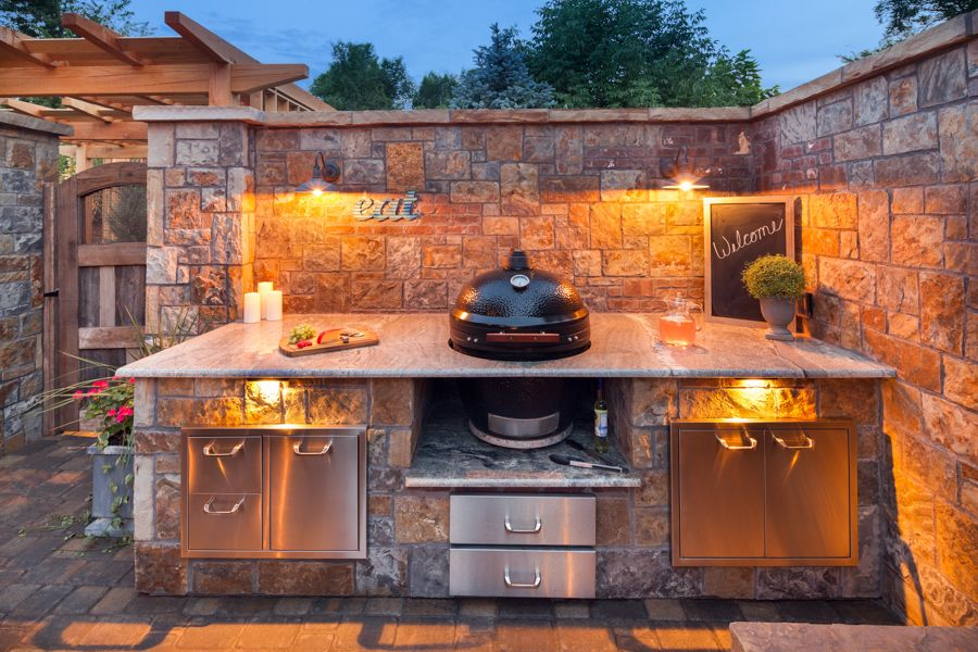 Built In Kamado Joe Grill And Kitchen Old Town Oasis Lindgren Landscape Diy Outdoor Kitchen Outdoor Bbq Area Kamado Grill