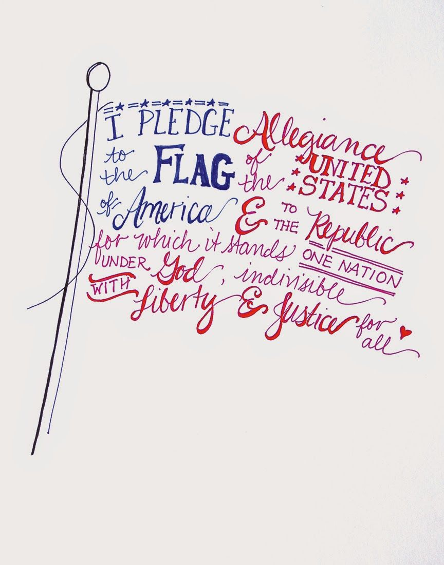 free hand lettered flag printable for the fourth of july diy