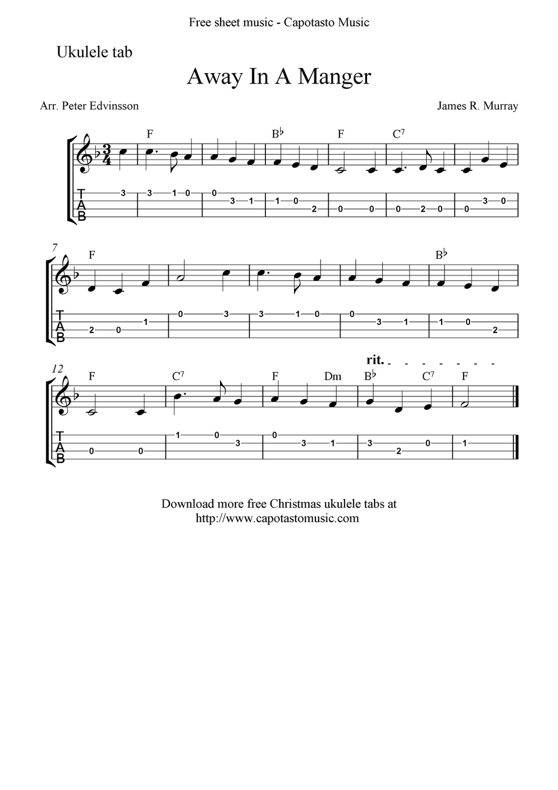 """Away In A Manger"" Ukulele Sheet Music Free Printable"