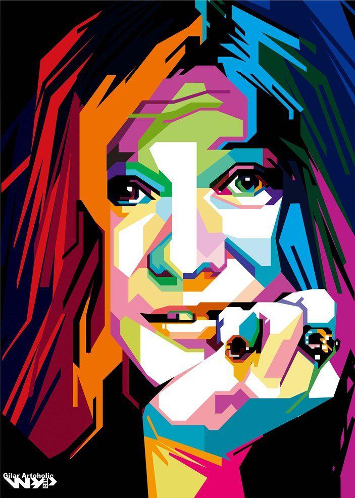 Janis Joplin Arte Pop Retrato Abstracto Arte Y Musica