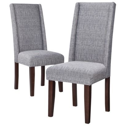 Charlie Modern Wingback Dining Chair Textured Grey (Set
