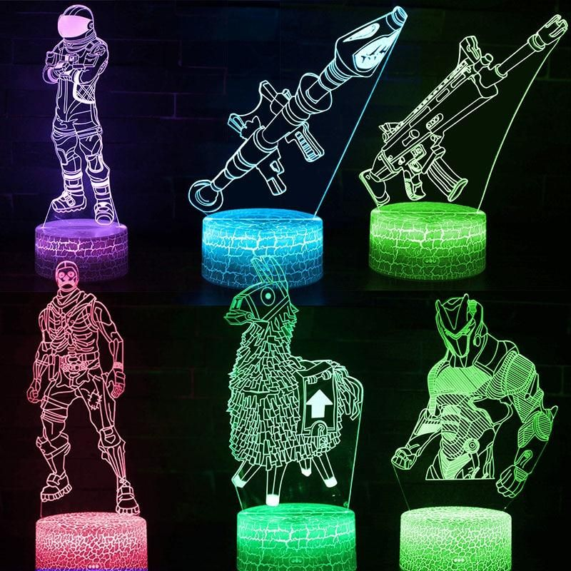 Fortnite Battle Royal Led Nightlight Light Projection Lamp 3d Illusion Visual Night Light Fortnite Battle Royal Led Holiday Shop Gifts For Kids Kids Gifts