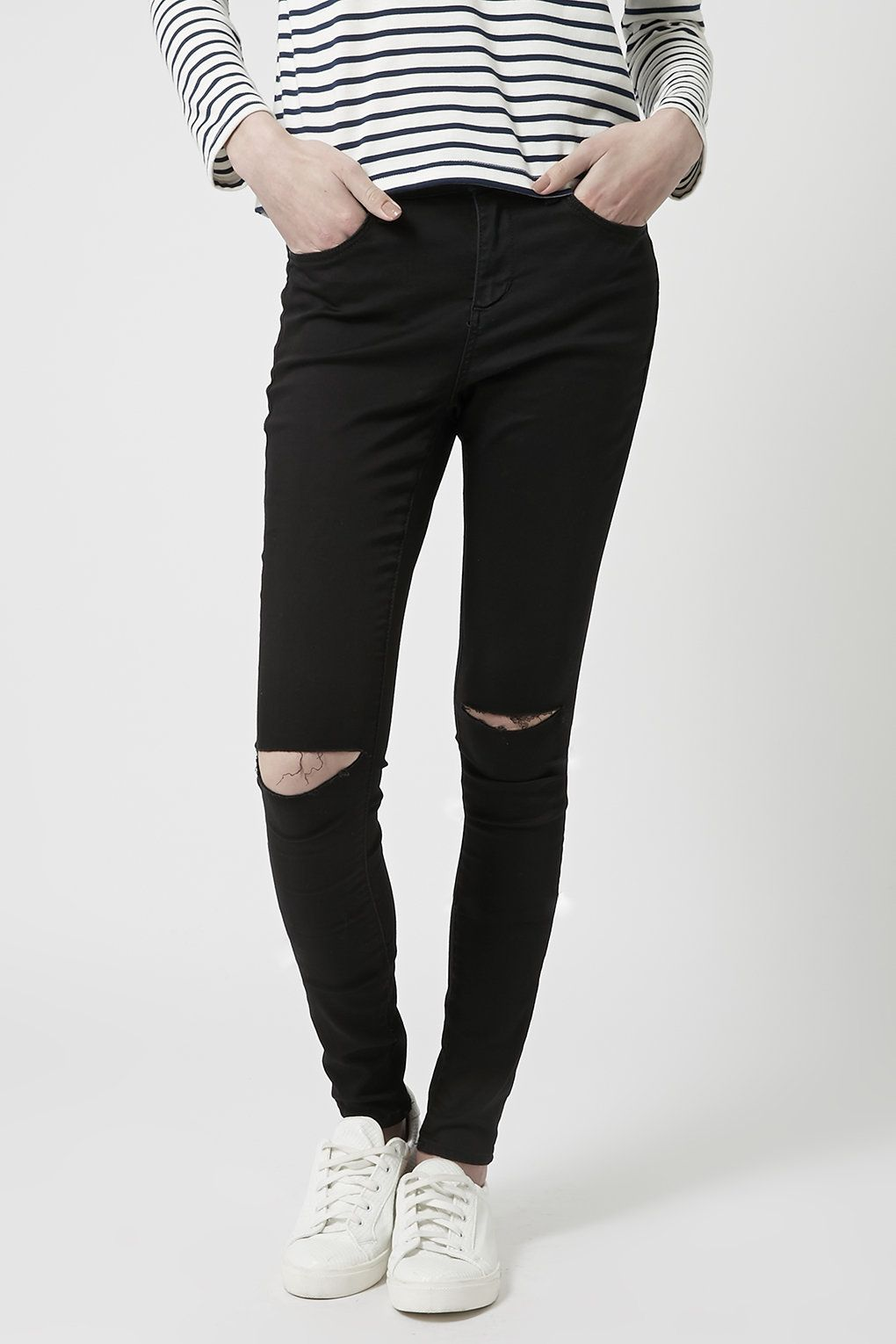 MOTO Black Ripped Leigh Jeans