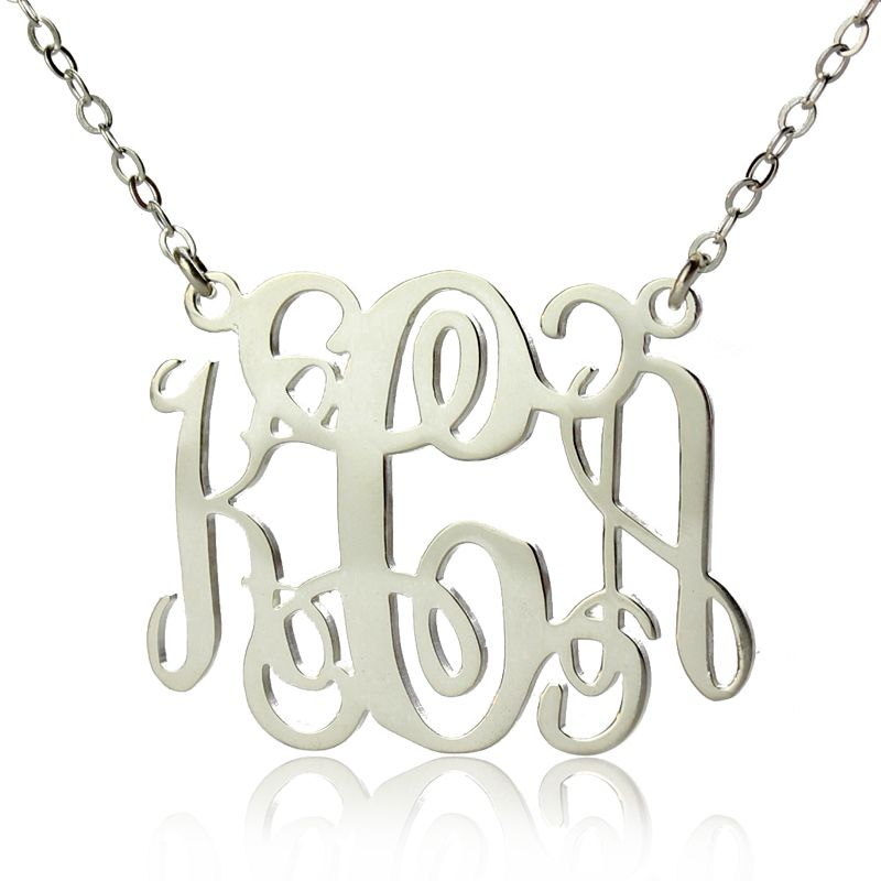 925 Sterling Silver Personalized Monogram Necklace Jewelry Custom Made with 3 Initials