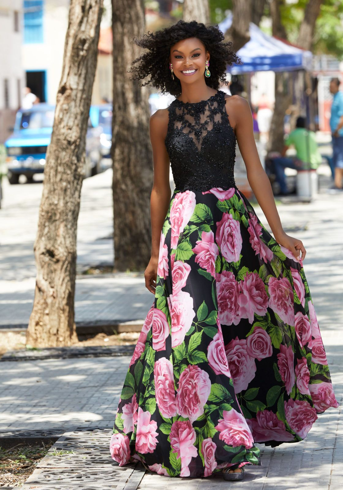 Slim aline prom dress with beaded lace bodice and floral printed