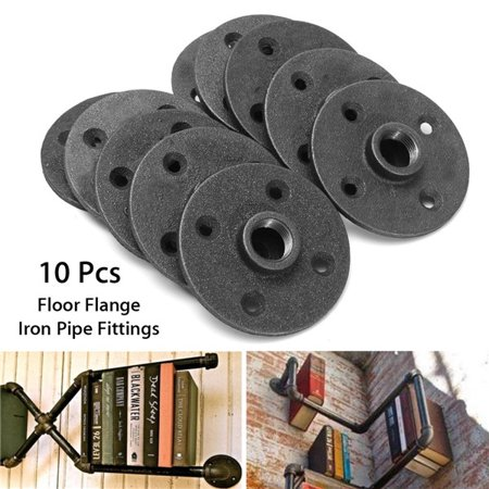 10PCS 1//2/'/' Flange Malleable Threaded Iron Pipe Fittings Floor Wall Mount Black