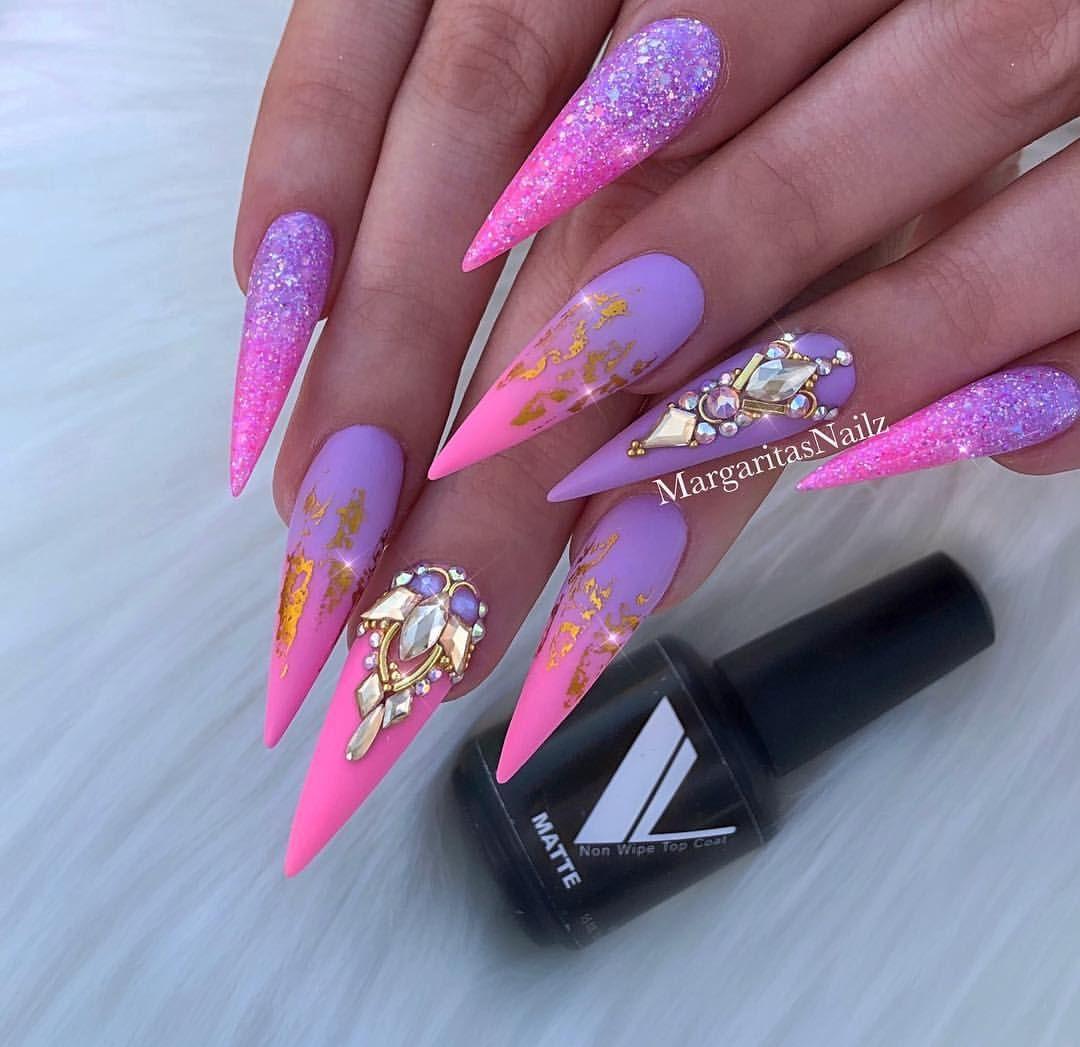 Pink Lavender Ombre Matte Stiletto Nails Bling Glitter Nail Design