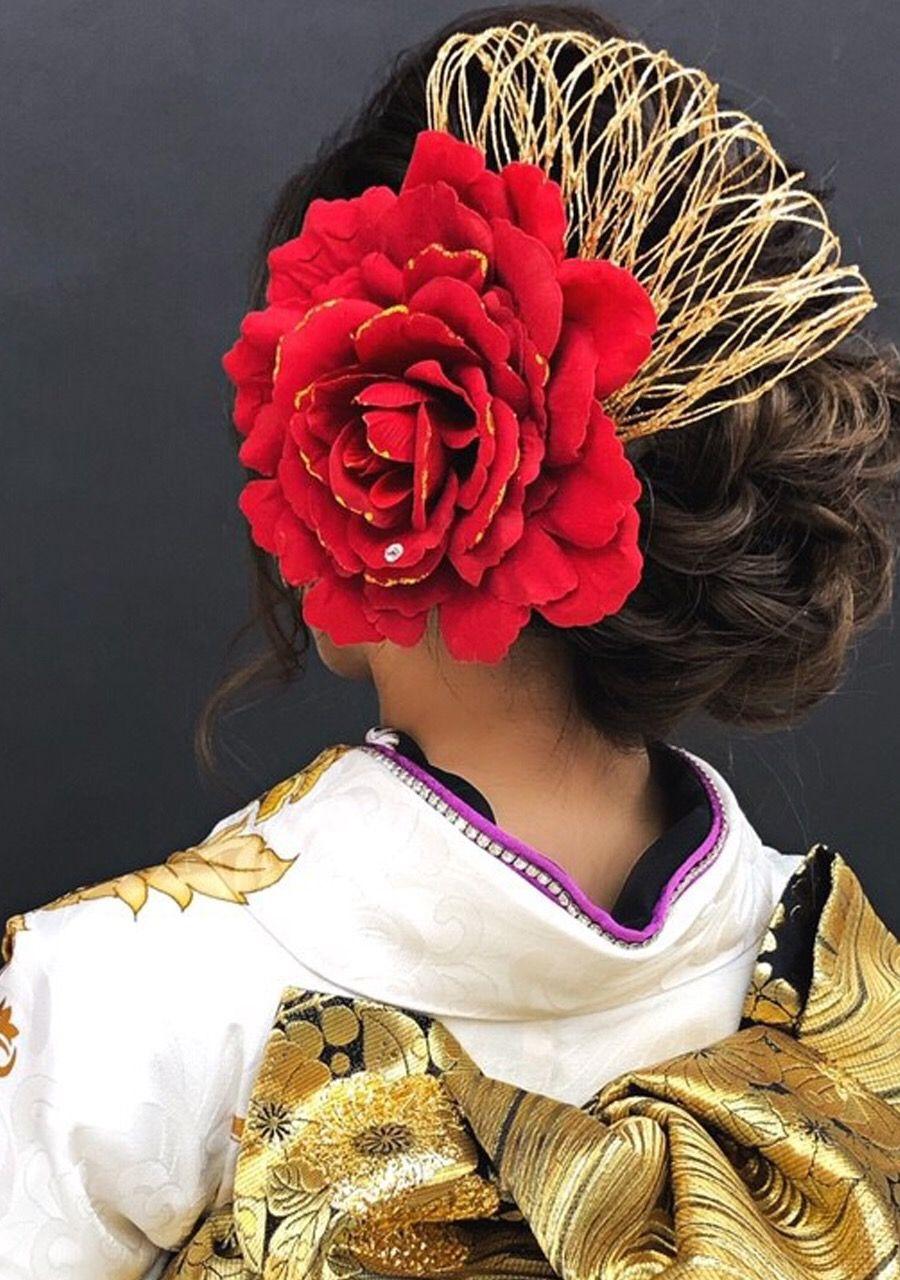 成人式振袖 卒業式袴 着物髪型 人気髪飾り おしゃれ髪飾り レトロ髪飾り 目立つ髪飾り 大きい 赤色 送料無料 Kamikazari 002 成人式 ヘアスタイル 髪飾り 振袖