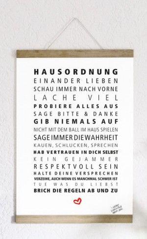 Hausordnung mit liebevollen Regeln als Kunstdruck.