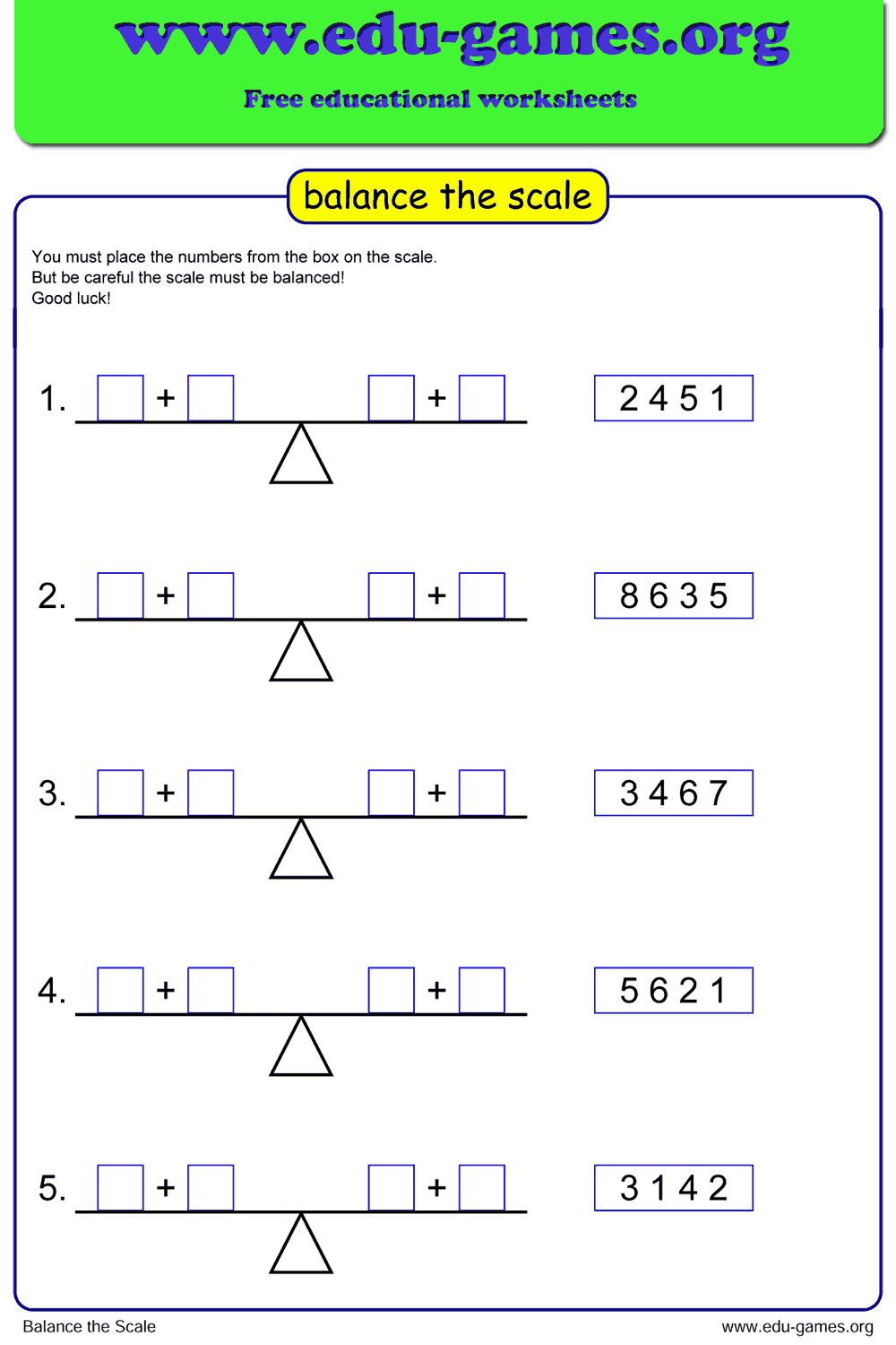 small resolution of Balance the scale is a great introduction to algebra for the first grade.  The goal is to make two equ…   First grade math worksheets