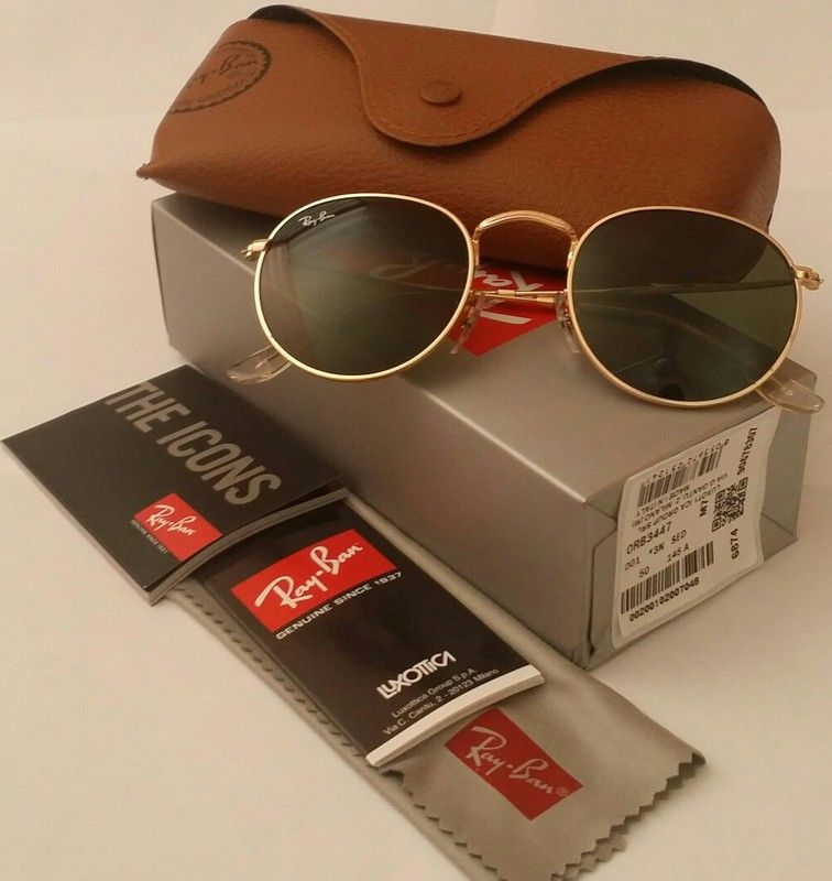 5c9ff4da07 Authentic RAY-BAN 3447 001 Green Classic   black  Gold frame Round  Sunglasses
