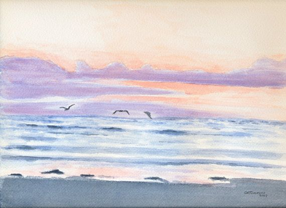 Calm Ocean Sunset Fine Art Print Beach Watercolor Art