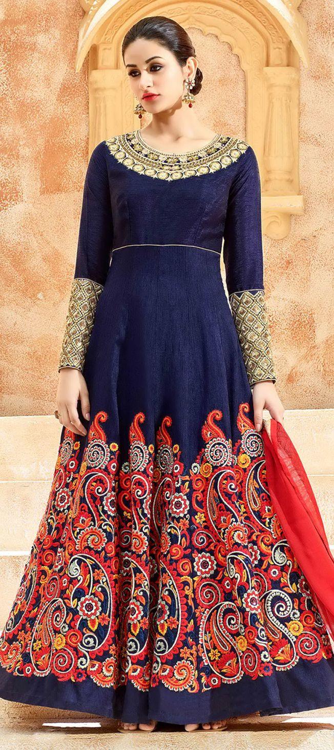 496653: Blue color family unstitched Anarkali Suits . | Fashion N ...