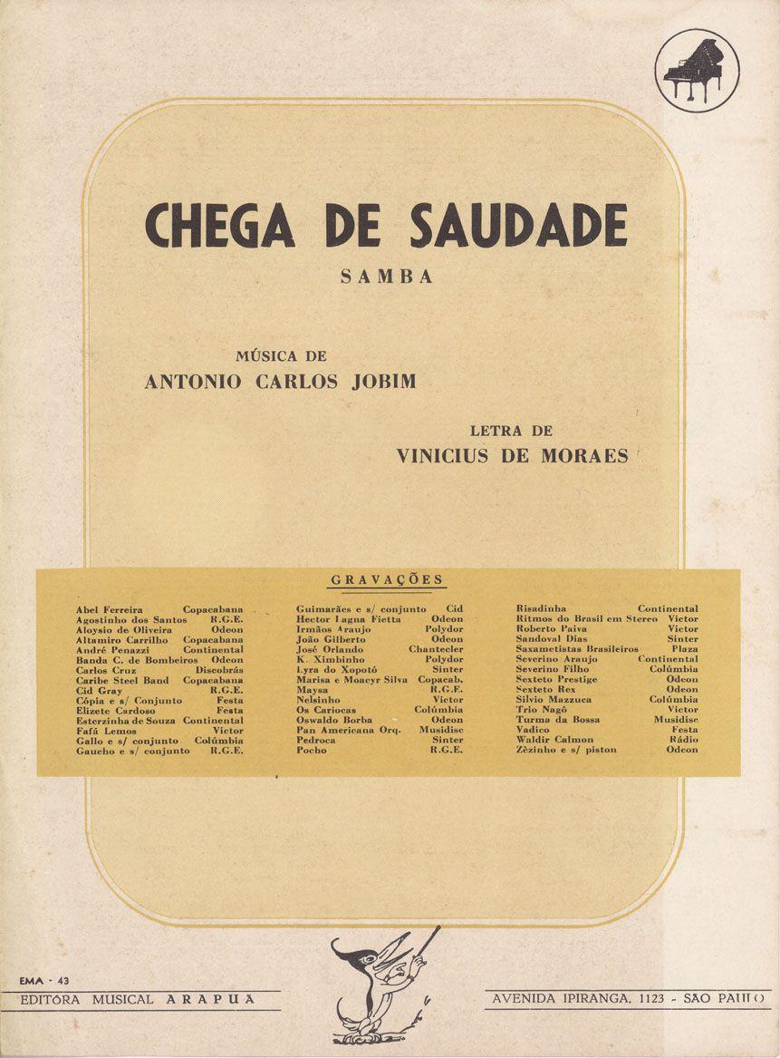 Chega De Saudade Antonio Carlos Jobim Antonio Carlos Jobim