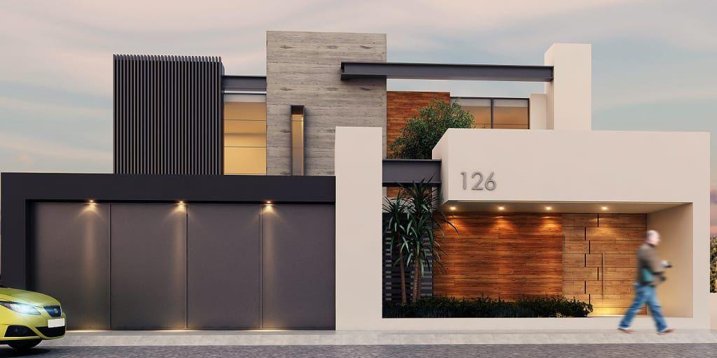 Fachada casas modernas de besana studio moderno en 2019 for Casa moderno kl