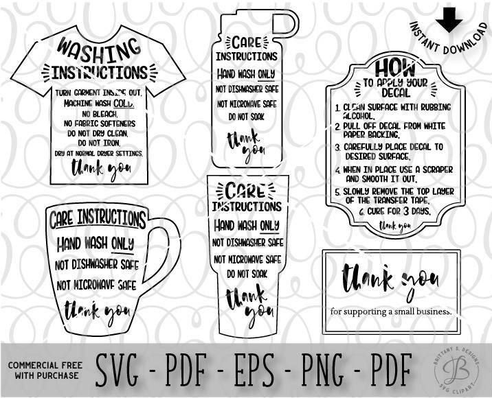 Care Card Bundle, Care Instruction Cards, Decal and HTV