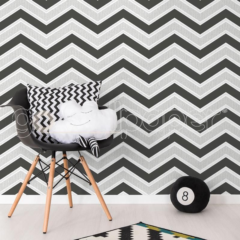 Coloroll Chevron Geometric Wave Black Glitter Wallpaper