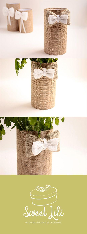 d coration de table de mariage champ tre chic vase cache pot r alis en toile de jute lin. Black Bedroom Furniture Sets. Home Design Ideas