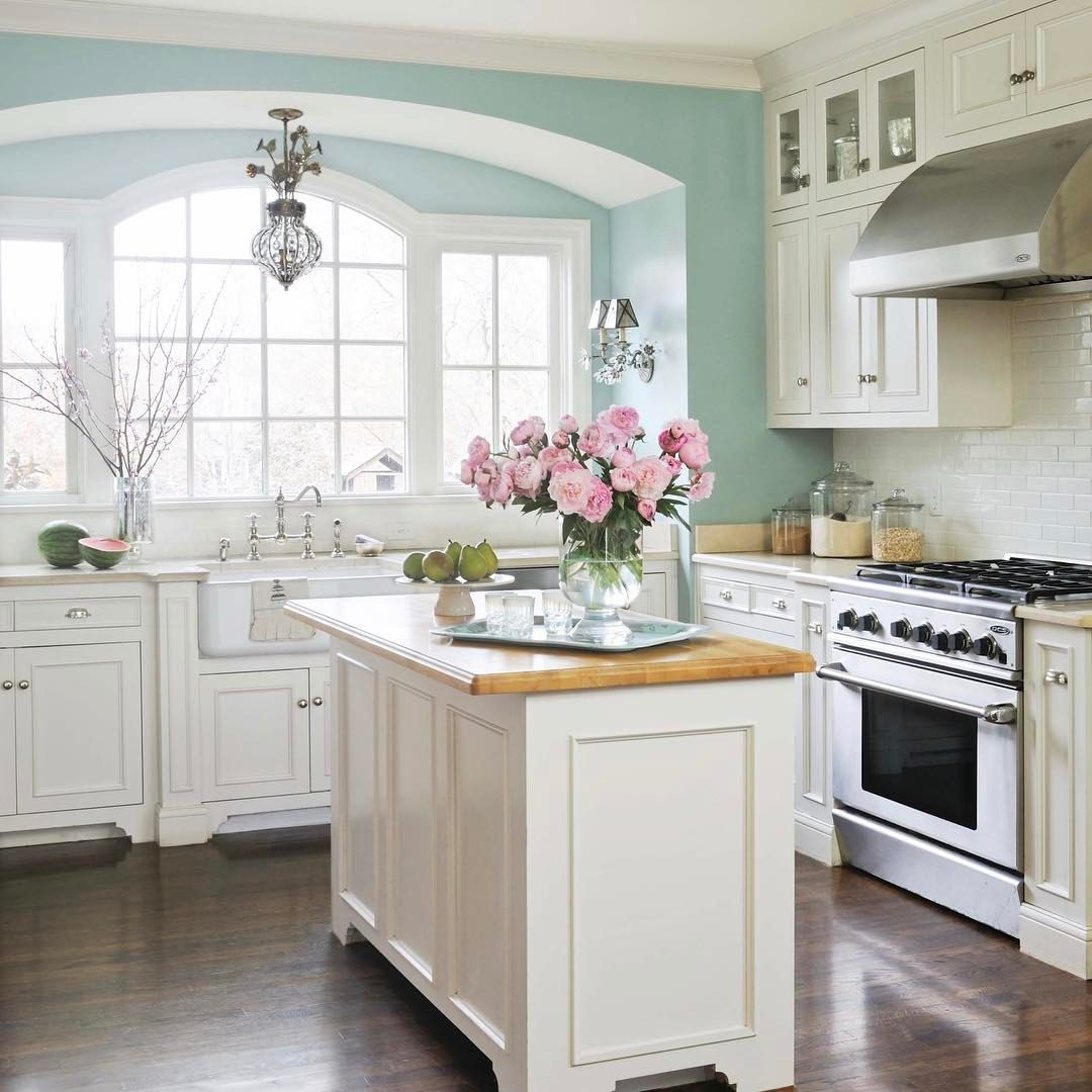 """7,886 Likes, 66 Comments - Better Homes & Gardens (@betterhomesandgardens) on Instagram: """"How much do you love this kitchen? We're calling it Tiffany Blue This airy, bright blue paint…"""""""