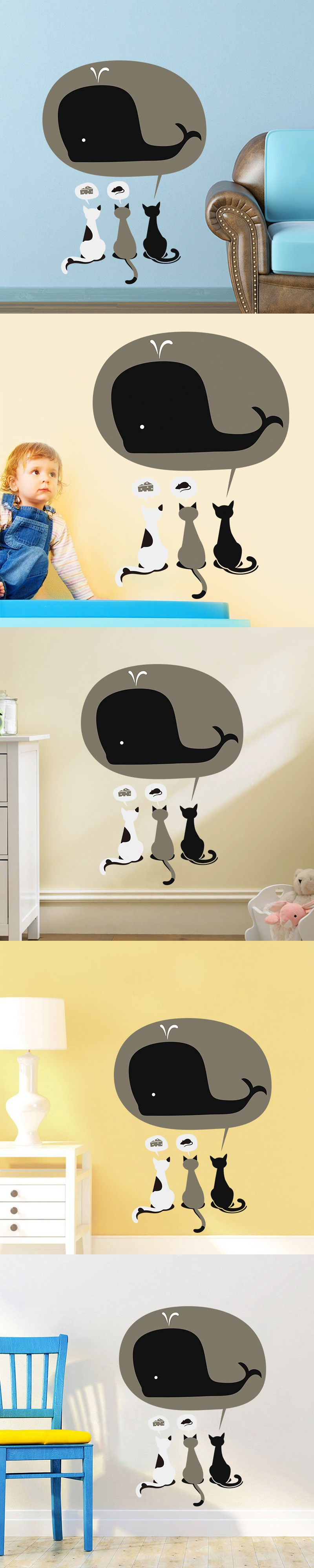 New Funny Home Decor Cartoon Plane Wall Stickers 3 Cute Cats and A ...