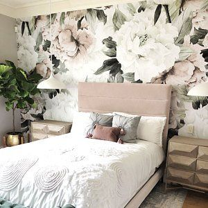 Pink Flowers And Leaves Removable Wallpaper Peel And Stick Etsy In 2020 Floral Wallpaper Bedroom Girl Bedroom Decor Bedroom Decor