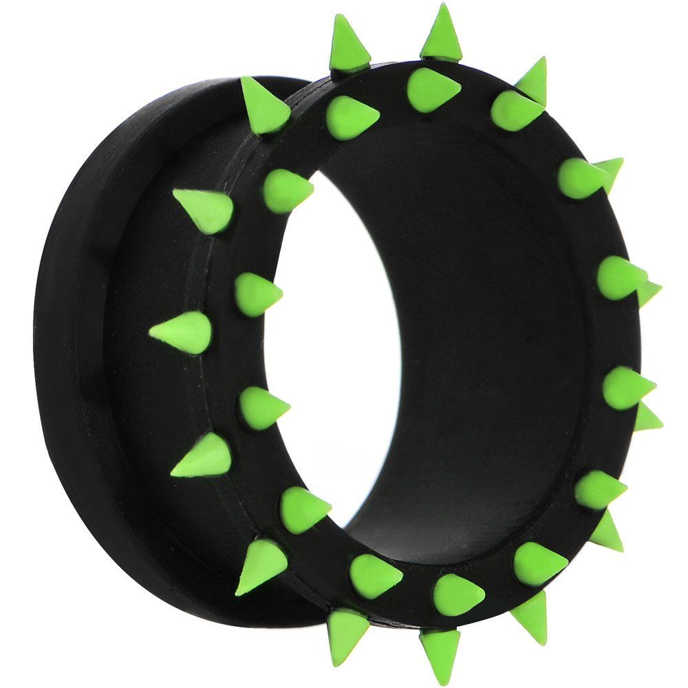 18mm Black Neon Green Silicone Spiked Flexible Tunnel