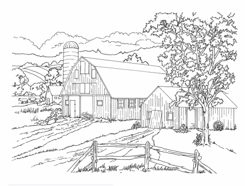 Country Scenes Coloring Book, Dover Publications