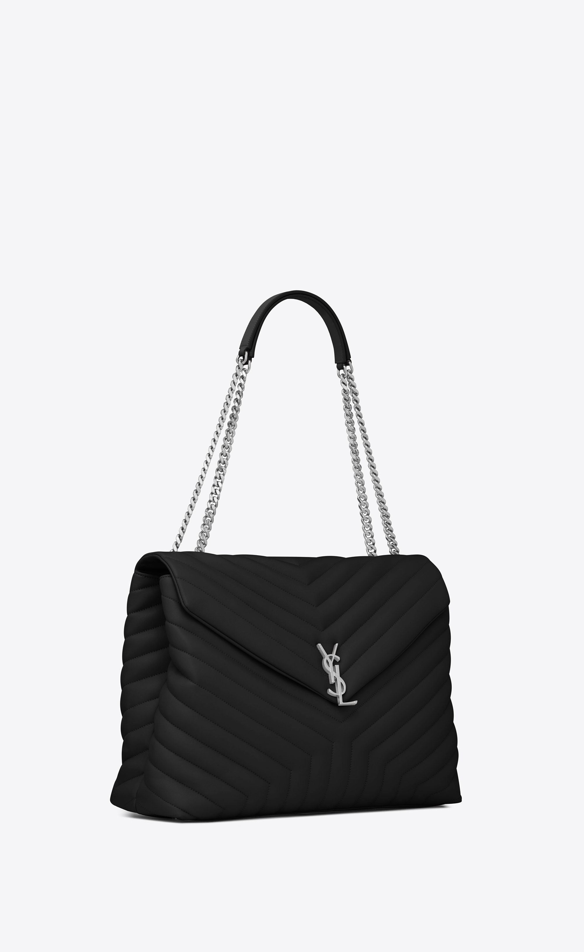 7292940fdae2e Saint Laurent - Large Loulou chain bag in black
