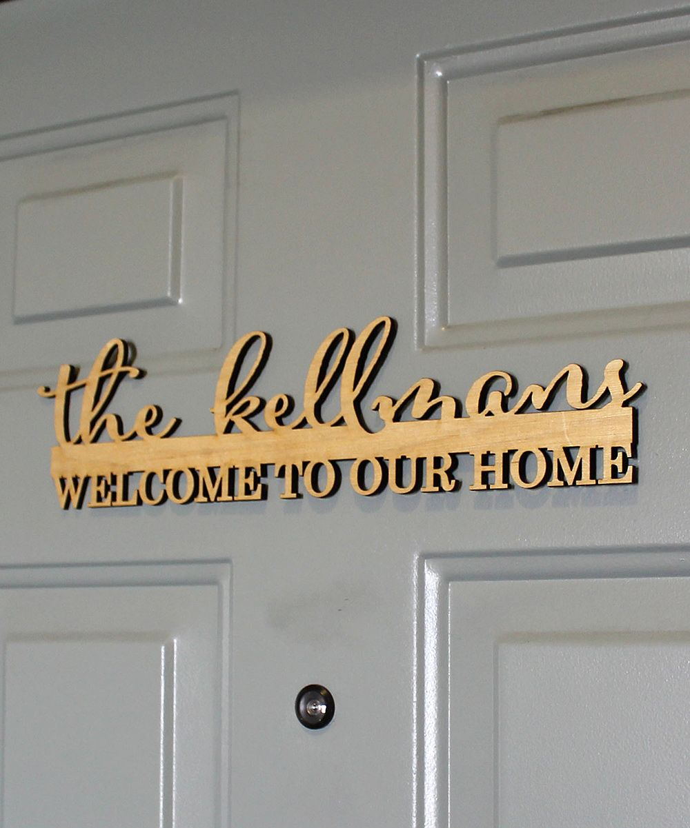 Welcome to Our Home\' Personalized Wood Door Sign | FUTURE HOME IDEAS ...